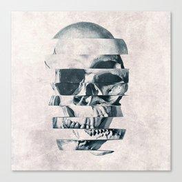 Glitch Skull Mono Canvas Print