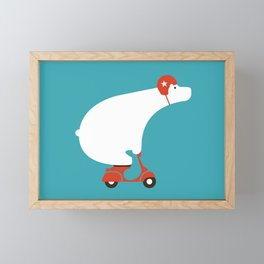 Polar bear on scooter Framed Mini Art Print