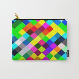 geometric square pixel pattern abstract in blue yellow pink green red Carry-All Pouch