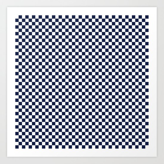 Indigo Navy Blue Checks Art Print