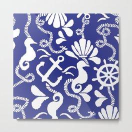 NAUTICAL THEME IN BLUE AND WHITE Metal Print