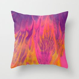 Candy Coated Gold Fire Abstract Painting Throw Pillow