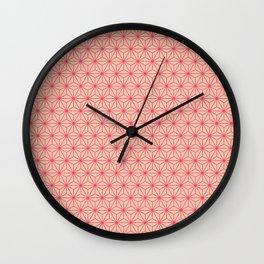 Red Japanese Hemp Kimono Pattern Wall Clock