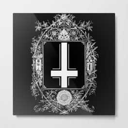 Occult Gothic Mirror With Antichrist Cross Metal Print