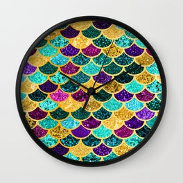 Glitter Purple, Aqua and Gold Mermaid Scales Pattern Wall Clock
