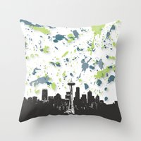 seahawks Throw Pillows featuring Seahawks Seattle Skyline by Blythe Green