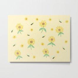 Bee & Sunflower Metal Print