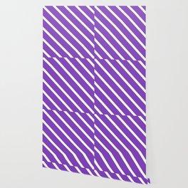 Lavender Purple Diagonal Stripes Wallpaper