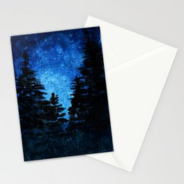 Blue Sky - Evergreen Trees Stationery Cards