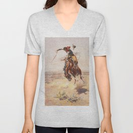 A Bad Hoss by Charles Marion Russell (c 1904) Unisex V-Neck