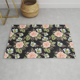 Rose and Foxglove Moody Watercolor Rug