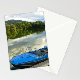 Motor boat on the lake Stationery Cards