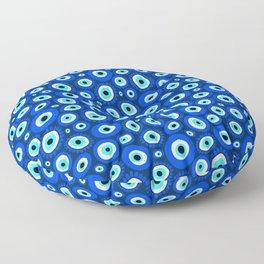 Evil Eye Symbol Blue White Pattern Floor Pillow