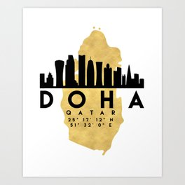 DOHA QATAR SILHOUETTE SKYLINE MAP ART Art Print