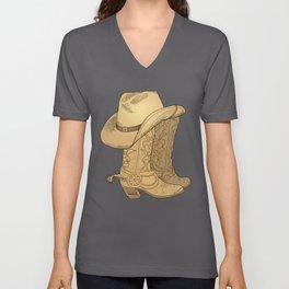 Vintage Retro Cowboy Hat Cowboy Boots Gift Unisex V-Neck