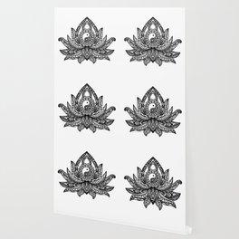 Yin Yang Lotus - Black Wallpaper