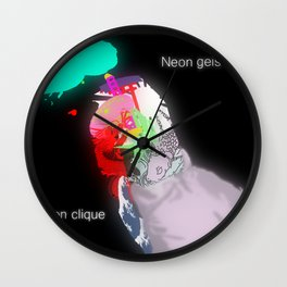 Neon Geisha Wall Clock