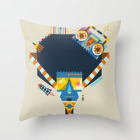 70s Throw Pillows featuring 70s by Jaye Kang