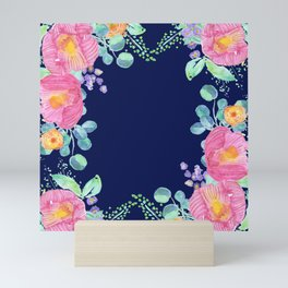 pink peonies with navy background Mini Art Print