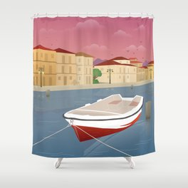 Lefkada, Western Waterfront Shower Curtain