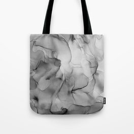 Black and White Marble Ink Abstract Painting Tote Bag