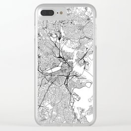 Boston White Map Clear iPhone Case
