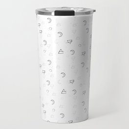 Minimal Pattern :: White Triangle Moon Travel Mug