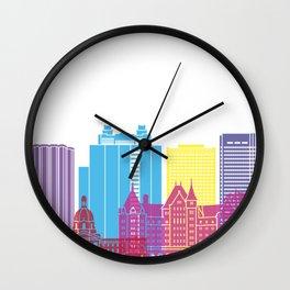 Edmonton V2 skyline pop Wall Clock