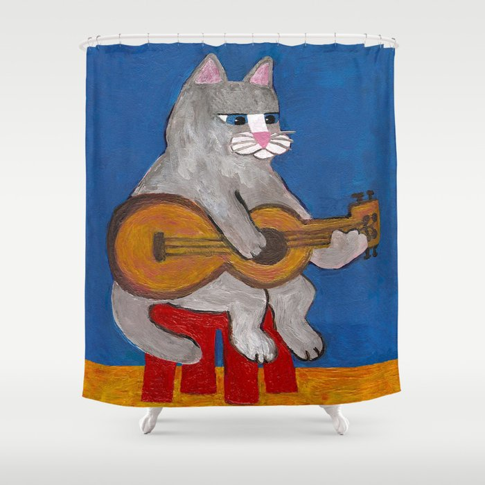 Cat Playing Guitar Shower Curtain by thebluecat | Society6