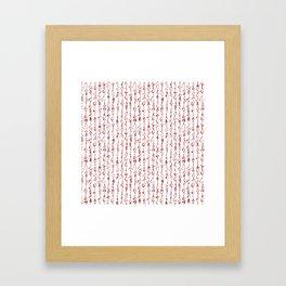 Ancient Japanese Calligraphy // Dark Red Framed Art Print