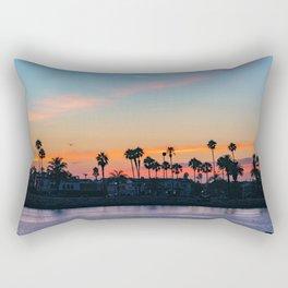 Seagull Over a Peninsula Sunset Rectangular Pillow