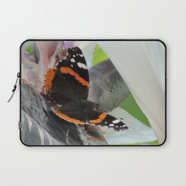 Red Admiral on a White Bird of Paradise Bloom Laptop Sleeve