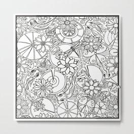 Koi Pond Coloring Page Metal Print