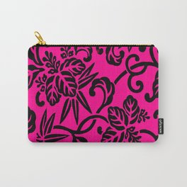 Hot Pink & Black Japanese Leaf Pattern Carry-All Pouch