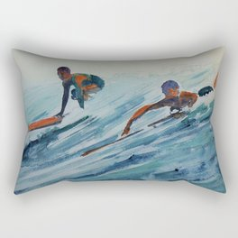 African American Surfers, Honolulu, Hawaii landscape painting by Fred Soldwedel Rectangular Pillow