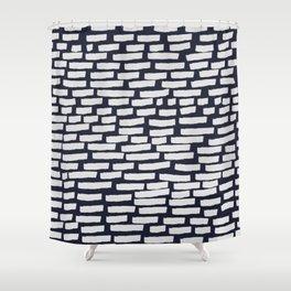 Light Grey Strokes on Dark Blue Shower Curtain
