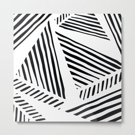 Black And White Abstract Triangle Geometric Scatter Pattern Metal Print