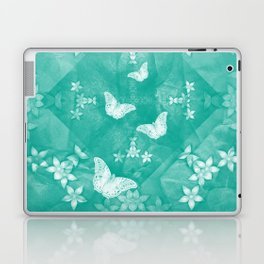butterflies and flowers on a textured teal mandala Laptop & iPad Skin