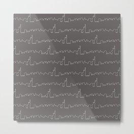 New York Skyline // Charcoal Grey Metal Print