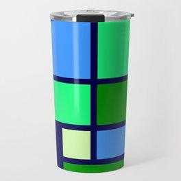 Mondrianista green blue Travel Mug
