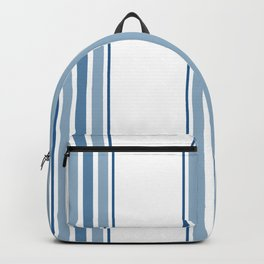 Farmhouse Blue Ticking Stripes on White Backpack