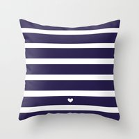 preppy Throw Pillows featuring PREPPY STRIPES by ANNA EVE