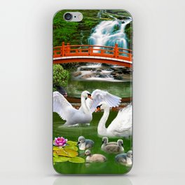 Swans and Baby Cygnets in an Oriental Landscape iPhone Skin