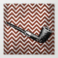 arsenal Canvas Prints featuring Gentleman's Arsenal - The Pipe by Ashley Anonymous