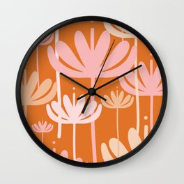 Bali Flowers Cheerful Floral Pattern in Pink and Orange Wall Clock