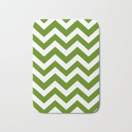 Avocado - green color - Zigzag Chevron Pattern Bath Mat