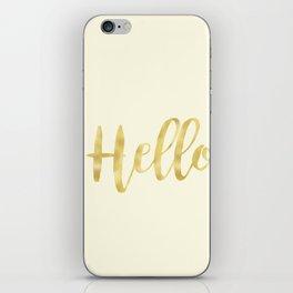 Hello in Golden Yellow on Cream iPhone Skin