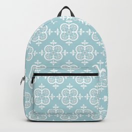 Decorative Pattern in White and Blue Backpack