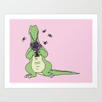crocodile Art Prints featuring Crocodile by Meredith Mackworth-Praed