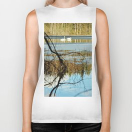 Swan couple on icy lake Biker Tank